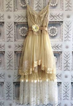 ecru cream & butter polka dot tulle lace chiffon boho prom dress by mermaid miss k