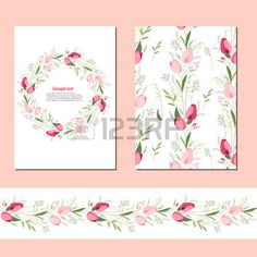 Floral spring templates with cute bunches of tulips Endless horizontal pattern brush For romantic an Stock Vector Spring Template, Background Drawing, Vector Art, Tulips, Royalty Free Stock Photos, Clip Art, Romantic, Templates, Drawings