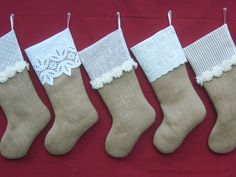 Burlap Stockings Christmas LaceGroup Set Lot 5 Rustic Chic. $150.00, via Etsy.