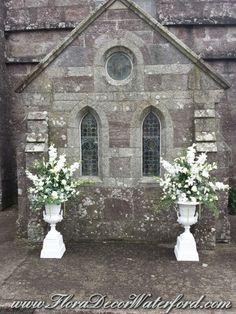 White Wedding Flowers Crooke Church Waterford. Rose, Calla, Freesia, Bouvadia. White Wedding Flowers, Church Wedding, Rose, Pink, Roses