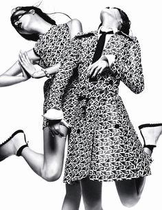 Hommage À Robert Longo: Sung Hee Kim And Ji Hye Park By Greg Kadel For Numéro #154 June/July 2014