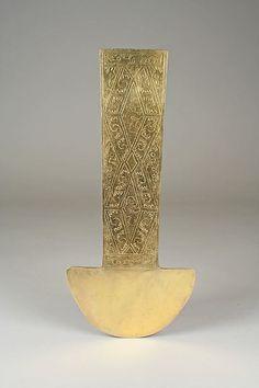 Ceremonial Knife Date: century Geography: Peru Culture: Chimú Medium: Gold Ethnic Jewelry, Jewelry Art, Historical Artifacts, Ancient Artifacts, Peru Culture, Peruvian Art, South American Art, 5 Elements, Mesoamerican