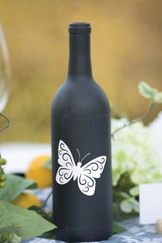 Wine Bottle Decal Butterfly with Personalized Names Wine Bottle Vinyl Wine Bottle Table Decoration Wedding Centerpiece Vinyl Decal Wine Bottle Vases, Wine Bottle Design, Glass Bottle Crafts, Diy Bottle, Bottle Centerpieces, Bottle Lights, Wedding Centerpieces, Wedding Decorations, Table Decorations