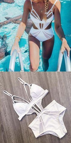 c03339ef942 White Plunge Cut Out Detail Swimsuit. chiclookcloset. Shop stylish women s  ...