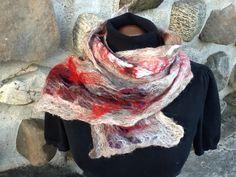 Vibrant #wool scarf beautiful plum silk #scarf unique by Royalpaca  #ecofashion