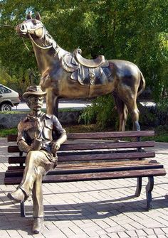 "This ""Tired Cowboy"", rests somewhere in the expanses of Russia - in Kemerovo"