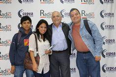 Con el ex-alcalde de Villa El Salvador, Michel Azcueta, junto al equipo de Radio Cepea. (2015)