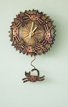 Chasing Cats Wall Clock - Handmade in Copper & Brass