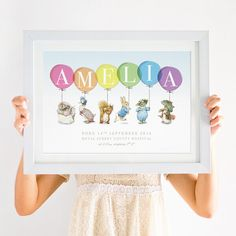 This Personalised Peter Rabbit New Baby Print comes in a variety of colour options, and makes a unique newborn gift for boys or girls. Baby Prints, Nursery Prints, Nursery Art, Nursery Ideas, Christening Gifts For Boys, Peter Rabbit Nursery, Character Design Cartoon, Baby Posters, Baby Frame