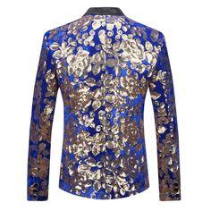 Men's Blazer Stylish Slim Fit Plus Size Floral Sequins for DJ Singer Wedding Fitted Prom Suits, Fitted Prom Dresses, Prom Blazers, Blazers For Men, Slim Fit Tuxedo, Slim Fit Suits, Mens Fashion Blazer, Suit Fashion, Dress Suits For Men