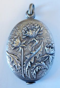 Sterling Silver Hallmarked Purple Enamel Keepsake Locket Mirror Compact Chatelaine
