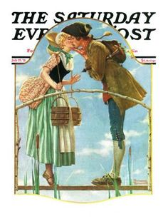 """Milkmaid"" Saturday Evening Post Cover, July 25,1931 Giclee Print by Norman Rockwell at Art.com"