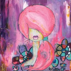um. love her hair. love.  today i am pink original painting by kellybarton on Etsy, $90.00
