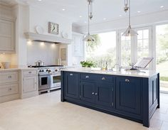 Georgian pane doors - large panes of glass either side Blue Painted Kitchen - Bespoke Kitchens - Tom Howley.because who wouldn't want to have a blue kitchen island? Home Kitchens, Kitchen Remodel, Kitchen Design, Kitchen Inspirations, Kitchen Flooring, New Kitchen, Kitchen Trends, Kitchen Interior, Blue Kitchen Island