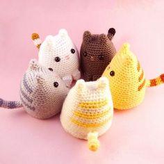 Dumpling Kitty, a free crochet amigurumi pattern on Ravelry. Chat Crochet, Crochet Mignon, Crochet Amigurumi, Love Crochet, Amigurumi Patterns, Diy Crochet, Crochet Crafts, Crochet Dolls, Yarn Crafts