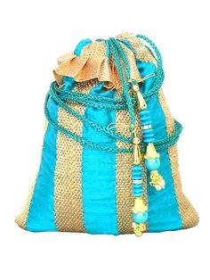 Raw Silk Potli- Turquoise