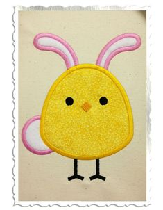 Easter Chick With Bunny Ears & Tail Applique Machine Embroidery Design - 4 Sizes