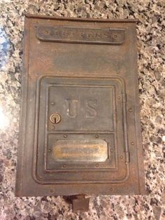Antique Black Lift Top Mailbox Distressed Metal Vintage Great Condition!