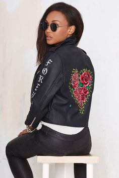 UNIF Always Forever Vegan Leather Moto Jacket