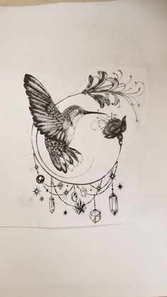 - New Ideas (notitle)<br> (notitle) Hummingbird Flower Tattoos, Hummingbird Tattoo Watercolor, Hummingbird Tattoo Meaning, Hummingbird Drawing, Geometric Hummingbird Tattoo, Bird And Flower Tattoo, Kunst Tattoos, Body Art Tattoos, Tattoo Drawings