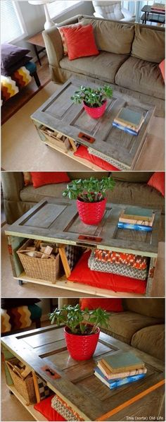 DIY repurposed furniture projects Easy Upcycling Ideas For Home DIY Coffee Table With Storage DIY pr Diy Coffee Table, Coffee Table With Storage, Diy Table, Window Coffee Tables, Dining Table, Shabby Chic Coffee Table, Porch Table, Unique Coffee Table, Furniture Projects