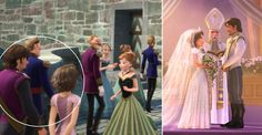 """Rapunzel makes a quick stop at Elsa's coronation. (See it above.) You can tell it's the """"Tangled"""" princess by the look of her chopped  locks. With her is Eugene Fitzherbert aka Flynn Rider."""