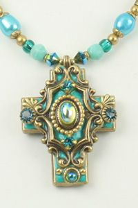 Green Aqua Cross Necklace-WAS $90 NOW - Blue green aqua colored stones and Swarovski(r) crystals in settings of gold.