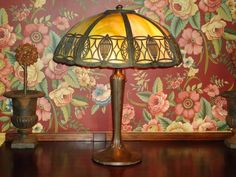 Handel Art Nouveau Arts & Craft Table Slag Glass & Filigree Lamp c.1900 Antique