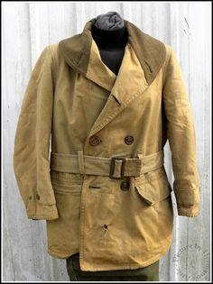 Original Pre '41 WW2 Vintage GI Kahki Canvas & Wool Lined M38 Mackinaw Jeep Coat