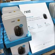 Two brands combine merchandising strength in this Nest Yale Lock Security Display. Nest (an Apple-staff independent spinoff) is among the best of. Yale Locks, Warehouse Club, Retail Fixtures, Shipping Pallets, Nest, Gadgets, Display, Apple, Cards