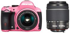 Pentax K-50 16MP Digital SLR Camera Kit with DA L 18-55mm WR f3.5-5.6 and 50-200mm WR Lenses (Pink) - International Version. The PENTAX K-50 is the perfect partner for all types of active shooting, and a talented guide to a brand-new photographic experienceA camera that is amazingly mobile and spor ty, one that can preserve all your memories in beautiful images.An elegantly contoured body that fits per fectly in the hand, and is comfor table to carry.With a weather- resistant construction...