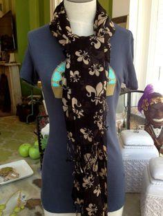 Fleurty Girl - Everything New Orleans - Fleur de Lis Summer Scarf - Scarves - Footwear & Accessories