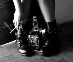 vice, smoke, cigarrete, whiskey, jack daniel's, black and white