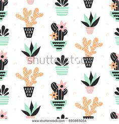 Succulents plants seamless pattern, mint and quartz colors, isolated on white. Mint Plants, Plant Vector, Scandinavian Style, Planting Succulents, Paper Design, Royalty Free Stock Photos, Tropical Prints, Quartz, Wallpapers