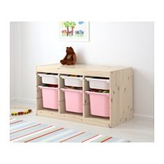 """TROFAST Storage combination with boxes, pine white, pink - 37x17 3/8x20 1/2 """" - IKEA"""