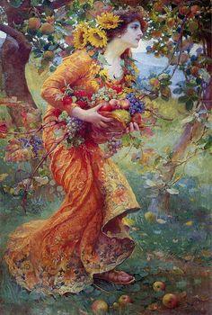 """Franz Dvorak (Austrian, 1862-1927), """"In the Orchard"""", 1912"""