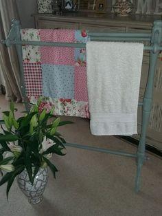 Shabby Chic Vintage Towel Stand/Rail *Annie Sloan Chalk Paint Duck Egg Blue*