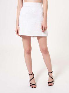 White Textured Tube Skirt
