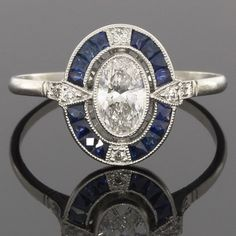 PLATINUM OVAL DIAMOND ART DECO VINTAGE SAPPHIRE HALO ENGAGEMENT RING MSRP $5,500 in Jewelry & Watches, Engagement & Wedding, Engagement Rings, Diamond | eBay