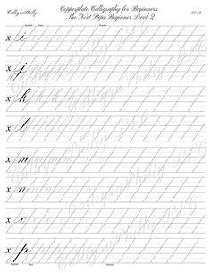 Modern Calligraphy Alphabet, Calligraphy Lessons, Calligraphy Worksheet, Calligraphy Tutorial, Copperplate Calligraphy, Hand Lettering Alphabet, Calligraphy Handwriting, Learn Calligraphy, Lettering Tutorial