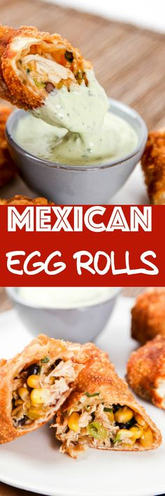 Southwest Egg rolls: Super crunchy egg rolls filled with perfectly spiced chicken and melty cheese. Dipped in creamy avocado ranch these are going to be your new go to appetizer! via Southwest Egg rolls: Super crunchy egg rol Egg Roll Recipes, Great Recipes, Recipe Ideas, Favorite Recipes, Finger Food Appetizers, Appetizer Recipes, Mexican Dishes, Mexican Food Recipes, Mexican Cooking