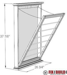 DIY Clothes Drying Rack Plans How to make a DIY Clothes Drying Rack. This wall mounted folding laundry rack will save you space and organize your laundry room. Full video tutorial and FREE plans available inside! Diy Clothes Drying Rack, Laundry Room Drying Rack, Drying Rack Laundry, Laundry Room Organization, Laundry Room Design, Hanging Drying Rack, Wall Mounted Drying Rack, Laundry Hamper, Woodworking Furniture