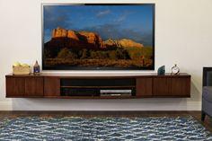 Floating TV Console Curve 3 Piece Mocha by WoodwavesInc on Etsy