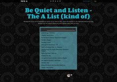 Be Quiet and Listen - The A List (kind of)