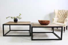 Artisan architectural metal and wood coffee table, the tops have been created by using rustic antique 18thC oak parquet elements There are only four of these tables available. Two Could be used together to make one larger coffee table H x 46 cm W x 101 cm D x 99 cm approx