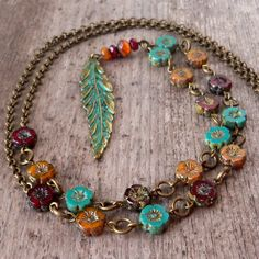 Autumn Jewelry - Leaf Necklace - Long Statement Necklace - Boho Necklace - Orange and Turquoise Necklace - Beaded Necklace - Fall Leaf 2017 Leaf Jewelry, Fall Jewelry, Wire Jewelry, Boho Jewelry, Beaded Jewelry, Jewelry Accessories, Fashion Jewelry, Beaded Bracelets, Jewelry Ideas
