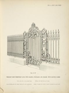 wrought iron pedestrian gate, with railing, standards and braces; with electric globes