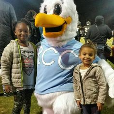 Squall the Seagull the official mascot of Rappahannock Community College greets  new friends made at Colonial Beach High School. #rappahannock #community #college #comm_college #football #fridaynightlights #colonialbeach #drifters