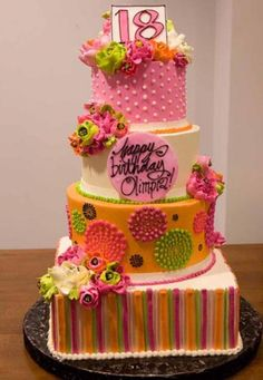 Funky color scheme for a birthday cake! By The White Flower Cake Shoppe