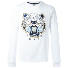 Kenzo 'Tiger' sweatshirt (£170) ❤ liked on Polyvore featuring men's fashion, men's clothing, men's hoodies, men's sweatshirts, white and mens white sweatshirt
